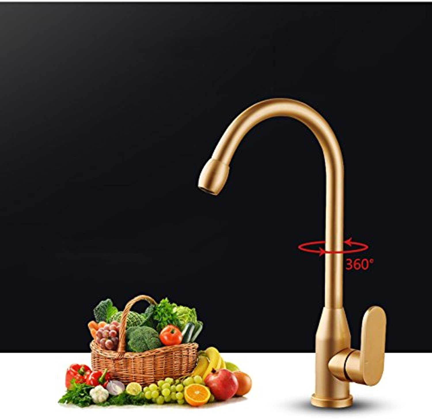 Makej gold Kitchen Faucet Space Aluminum gold Single Handle Hot Cold Water Vessel Sink Basin Tap Mixer 360 redating