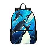 Delerain Mochila escolar de pingüinos 3D ligera mochila de viaje mochila de hombro 17 pulgadas más bolsa de ordenador portátil bolsa de libro para 1-6º grado niños niñas de vuelta a la escuela
