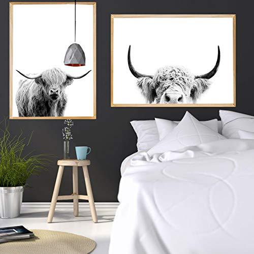 Póster e impresión de animales de las tierras altas, arte de pared de vaca gris, pintura en lienzo, decoración nórdica, cuadro de pared, decoración de dormitorio, 75x95cmx2 piezas sin marco