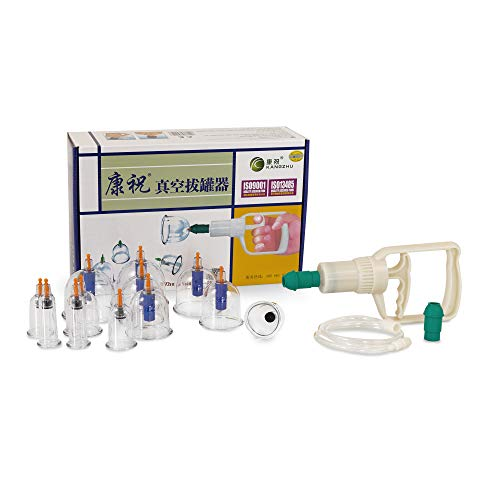 AFH-Webshop 450406 Schröpfen Kangzhu Set aus Kunststoff mit Vakuumpumpe, 12 teilig