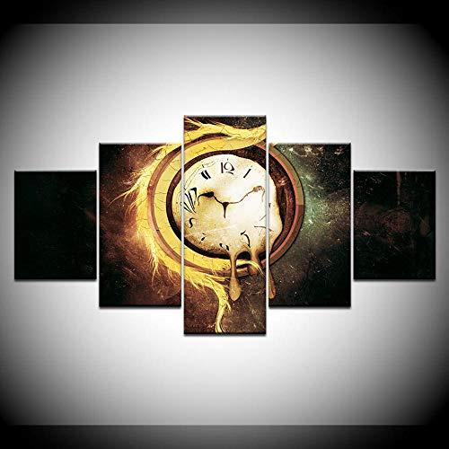 yuanjun Pegatinas De Pared 5 Unidades Lienzo Pintura Lienzo Cuadro Pintura Habitación Decoración Impresión Cartel Arte De La Pared Reloj Vintage Relojes Derretidos Estampados