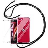 YIRSUR – Funda para teléfono móvil + protector de pantalla para iPhone SE 2020, iPhone 7/8 funda con cordón, funda de silicona TPU para iPhone SE 2020/6/7/8 (transparente)