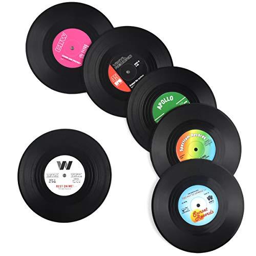 AvoDovA 6er-Set Retro-Vinyl-Untersetzer, Retro-Untersetzer für Getränke, Schallplatten Untersetzer für Getränke, rutschfeste Untersetzer für Kaffee Tee Bierkrug Weinglasflasche