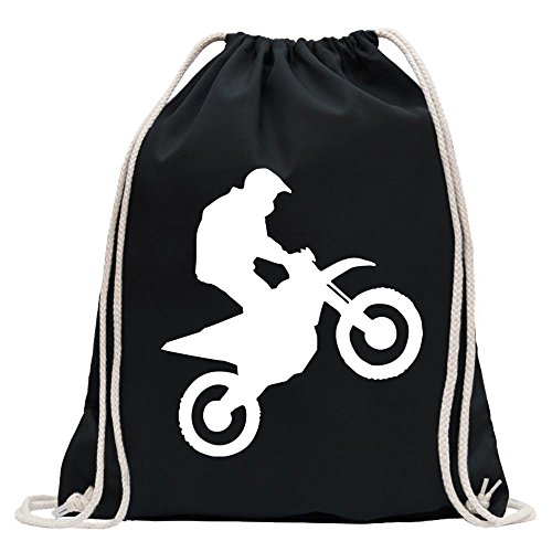 Kiwistar - Motocross Motorrad Bike Turnbeutel Fun Rucksack Sport Beutel Gymsack Baumwolle mit Ziehgurt