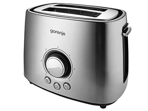 Gorenje T1000e 2rebanada (S) 1000W Edelstahl - Toaster (2 Rebanada (S), Edelstahl, Metall, Kunststoff, Tasten, drehbar, 1000 W, 271 mm)