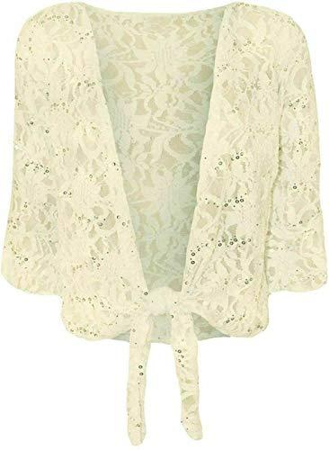 Cárdigan de encaje floral con lentejuelas de manga 3/4 para mujer - marfil - 50-52 Más