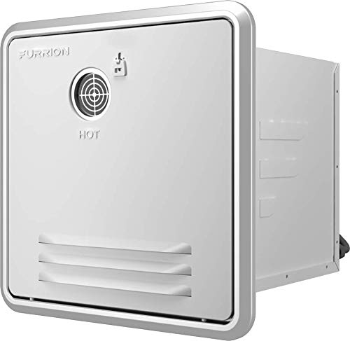 """Furrion 2.4GPM Tankless RV Gas Water Heater with White 16.14"""" x 16.14"""" Door - FWH09A-1-A"""