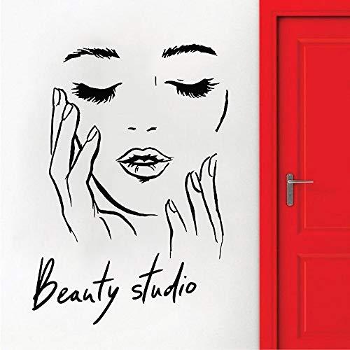 Mujeres cosmética salón de belleza salón de manicura de uñas cejas labios maquillaje chica etiqueta de la pared vinilo arte calcomanía dormitorio sala de estar estudio decoración del hogar mural