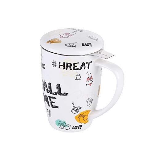 LOVECASA Taza de Te Porcelana Mug Infusión con Filtro y Tapa, Diseño con Frases Regalo 450 ML