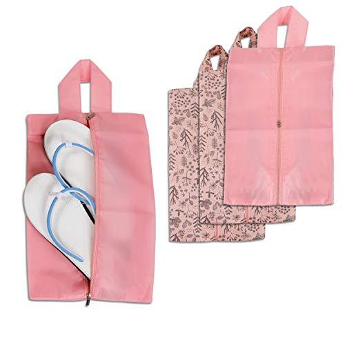 Portable Shoe Storage Organizer Bags Set, Nylon Travel Shoe Bags Dust-Proof Storage Organiser ,Zipper Closure for Shoes,Waterproof, Convenient Handle & Sturdy Zipper (Pink)