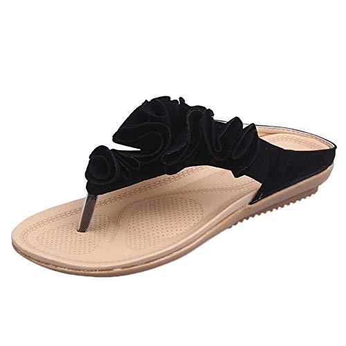 Alaso Tongs Femme Plates Sandale Flip Flops Pas Cher Femmes Été Plage Pantoufle Chic Fleurs Bout Ouvert Confort Sabots Mules