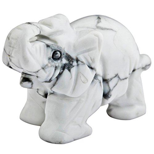 mookaitedecor White Howlite Turquoise Crystal Elephant Sculpture Statue Crafts Healing Reiki Pocket Gemstone Figurines 1.5 Inch
