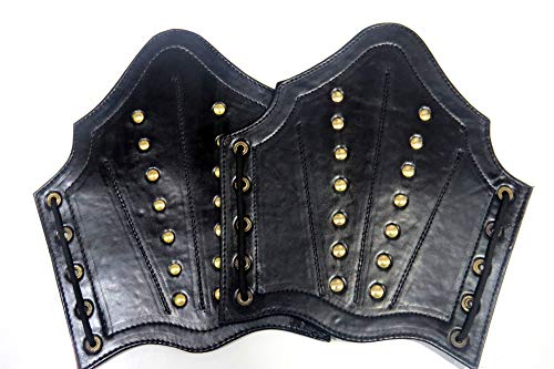 Armor Faux Leather Arm Guards - Medieval Bracers - Black - One Size Fit Most
