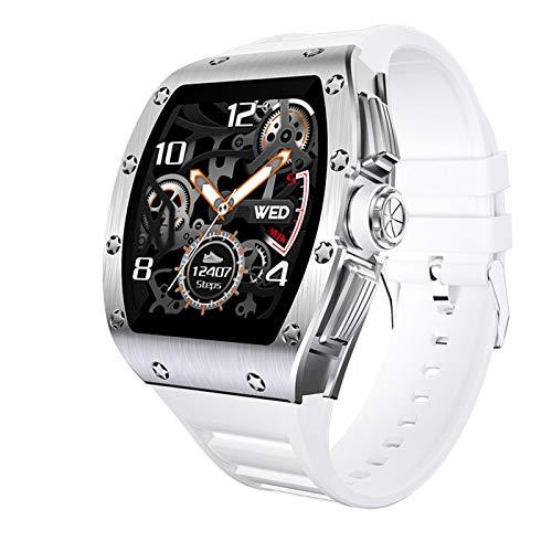 AYZE Relojes Smartwatch Hombre Pantalla HD De 1.3', Batería De 200 mAh, Monitoreo del Sueño, Inserción De Información, Autofoto con Control Remoto, Función De Posicionamiento, Reloj De Fitness White