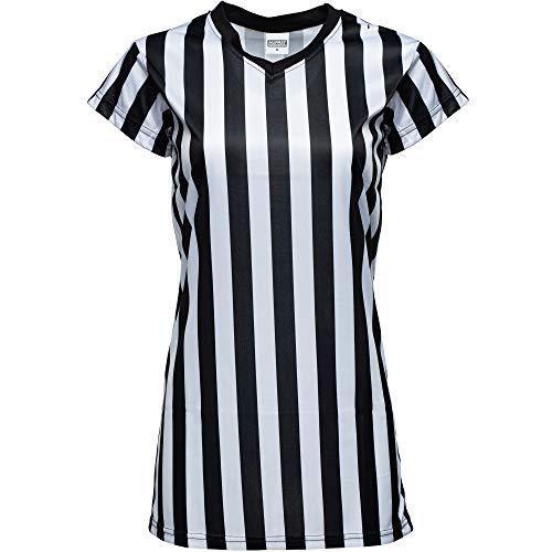 Murray Sporting Goods Damen Schiedsrichter-Shirt, V-Ausschnitt, schwarz-weiß gestreift, offizielles Trikot für Refs, Schiedsrichterkostüm, Kellnerinnen und mehr, schwarz / weiß, Small
