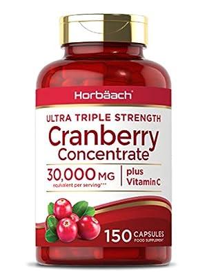 Triple Strength Cranberry 30,000mg + Vitamin C   150 Capsules   Non-GMO, Gluten Free   by Horbaach