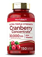 Triple Strength Cranberry Concentrate capsules with Vitamin C, with 30,000 MG equivalent per serving High Strength - Each serving contains 30,000mg of highly concentrated cranberry powder Immune support, our unique formula with added Vitamin C suppor...