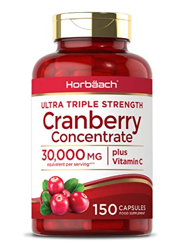 Triple Strength Cranberry 30,000mg + Vitamin C | 150 Capsules | Non-GMO, Gluten Free | by Horbaach