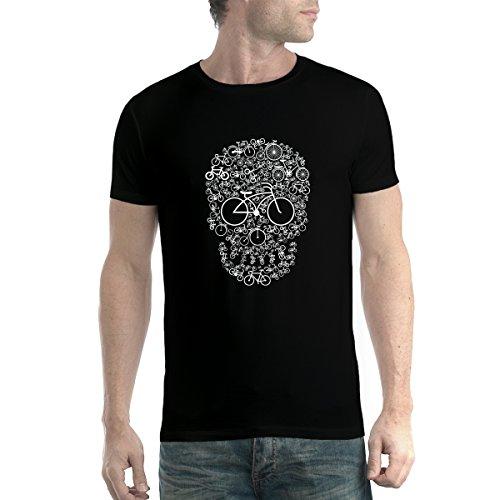 avocadoWEAR Cráneo de la Bicicleta Ciclismo Hobby Hombre Camiseta Negro XL