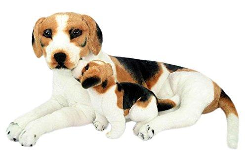 Wagner 1006 - Plüschtier Hund Beagle mit Welpe - liegend - 85 cm Gross