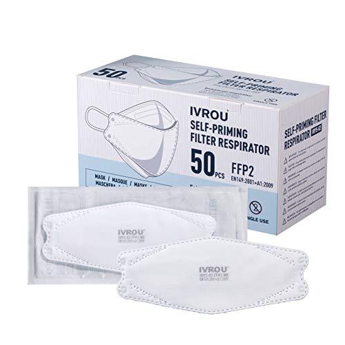 Ivrou FFP2 masken Medical IRYS-02 Dekra Certified & Tested Medical FFP2 Maske Angenehm zu tragen 50 Stück