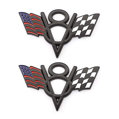 2x V8 US & Racing Checkered Flag Emblem Decal For Chevrolet Chevy Corvette Camaro Car Styling Fender Trunk Tailgate Bumper Badge Sticker Decorative Accessories (Black)