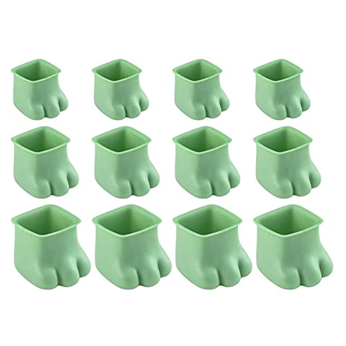 Silicone Chair Leg Caps with Felt Pads,Soft Felt Pads Kitten Paw Shaped Furniture Leg Cover,Silicone Chair Leg Protectors,Prevents Scratches and Noise (Green)