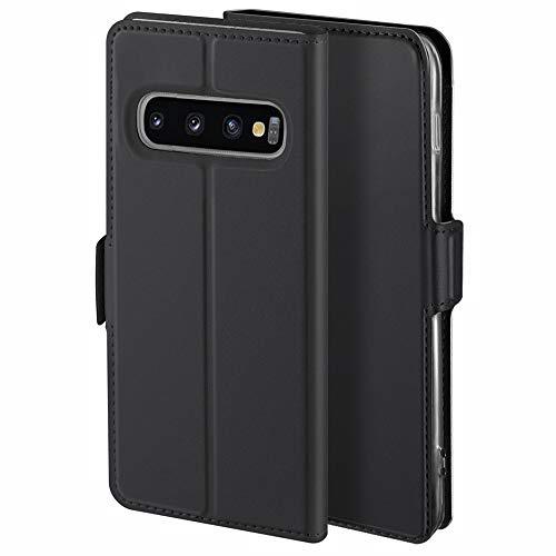 YATWIN Handyhülle für Samsung Galaxy S10 Plus Hülle Premium Leder Flip Schutzhülle für Samsung Galaxy S10 Plus Tasche, Schwarz