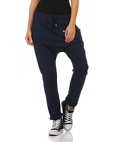 Zarmexx Damen Sweatpants Baggy Boyfriend mit Knopfleiste Freizeithose Jogginghose Baumwolle Sporthose Yogapants Jogger Loose fit Big Star One Size