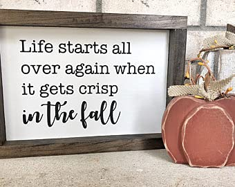 Free Brand oqsyyxgs Life Starts All Over Again When it Gets Crisp in the Fall/Wood Sign/Autumn Decor