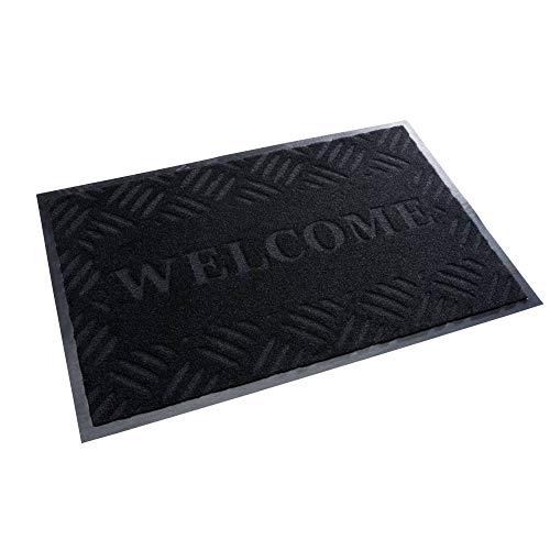 acerto 30209 Premium Zerbino Welcome Nero 40x60cm * Estremamente Resistente * Esterno & Interno * Antigelo * Senza PVC - Tappetino Pulito Stuoia Porta d'ingresso Stuoia di Ingresso Stuoia