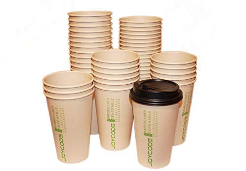 Joycode12OZ Compostable Disposable Hot Coffee Paper Cups 100% Biodegradable Bamboo Fiber With Lids.170Counts