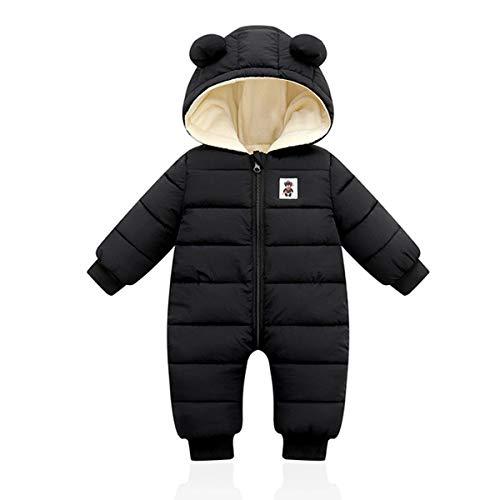 Minizone Baby Winter Overall mit Kapuze, Strampler Schneeanzug Jungen Mädchen Langarm Jumpsuit Warm Outfits Geschenk 3-6 Monate,Schwarz