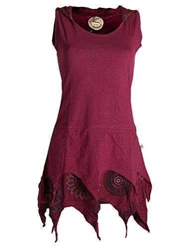 Vishes - Alternative Bekleidung - Zipfelige Elfentunika - im Lagenlook mit Blumen Bedruckt Dunkelrot 36 (S)