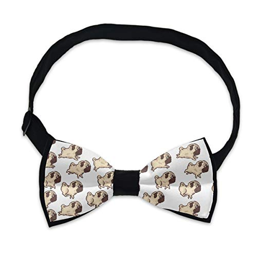 Boys Pre Tied Bow Tie, Cute Pug Dog Creative Gift, Casual and Formal Cravat for Formal Fun Occasions, Business Wedding Party