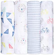 Aden and Anais Leader of The Pack Classic Muslin Swaddles, Multicolour, 4 Count