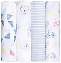 aden + anais Swaddle Blanket   Boutique Muslin Blankets for Girls & Boys   Baby Receiving Swaddles   Ideal Newborn & Infant Swaddling Set   Perfect Shower Gifts, 4 Pack, Leader of the Pack