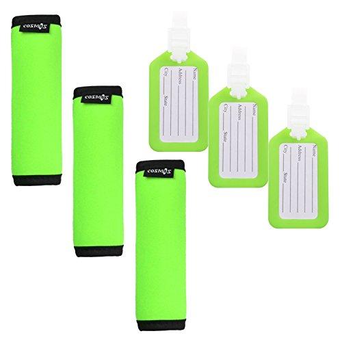 Cosmos 3 PCS Comfort Neoprene Handle Wraps/Grip /Identifier for Travel Bag Luggage Suitcase + 3 PCS Travel Accessories Luggage Tag Identifier (Fluorescence Green)