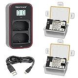 Newmowa LP-E6 Batería de Repuesto (Paquete de 2) y Cargador USB Dual...