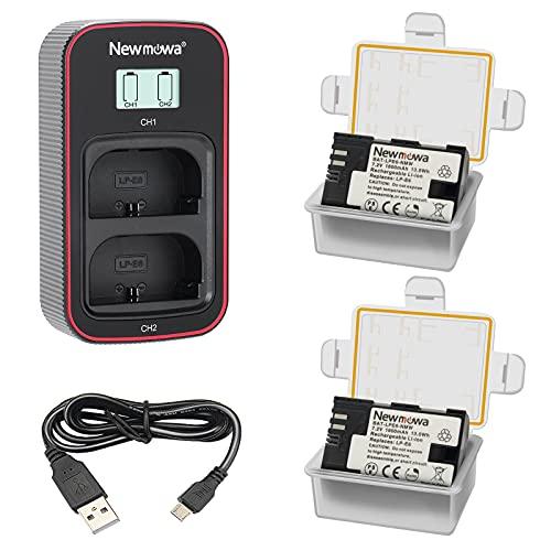 Newmowa LP-E6 Batería de Repuesto (Paquete de 2) y Cargador USB Dual con Pantalla LCD Inteligente para Canon LP-E6,LP-E6N y Canon EOS 5D Mark IV,5D Mark III,5D Mark II,6D,7D,7D Mark II,60D