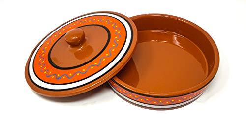 Verano Spanish Ceramics Fiesta Hand Painted Tortilla Server Dish with Lid -...