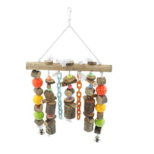perfk Juguete de Loro Multifuncional Pájaro Colorido Juguete de Masticación de Madera Colgante Colgante Escalera Percha Jaula Adorno