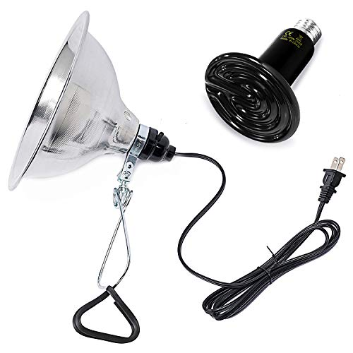 Simple Deluxe 150W Infrared Ceramic Reptile Heat Lamp Bulb & 150W Clamp Light with 8.5' Aluminum Reflector Combo for Amphibian Pet, Black