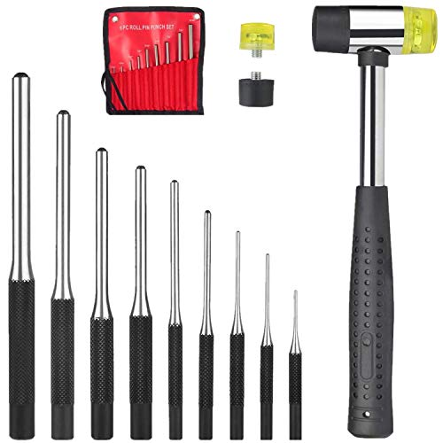 Roll Pin Punch Set with Storage Pouch, AOWOSA 12 Piece Steel Removal Tool Kit for Gunsmithing, Automotive, Watch