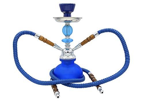 JOVAL - Shisha oder Hookah blau, 27 cm, aus Glas und Metall, mit doppeltem Schlauch zum Rauchen, 200 ml Glasbehälter