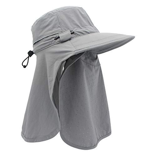Outfly Chapeau de Soleil d'été pour Femmes Protection UV Polyvalente Chapeau de Plage Chapeau à Large Bord Chapeau Seau Casquette de Voyage Protéger Le Cou et Le Visage