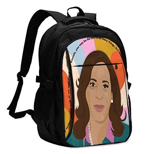 Harris The First Female vice President of The United States Men's Women Durable Women & Men Backpack with USB Charging Interface Laptop Backpack