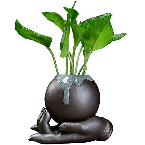 NBHUZEHUA Small Ceramic Flower Vase Decorative Buddha Hand Statue Succulent Pot Planter