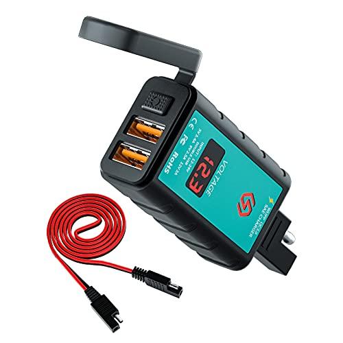 ZXWNB Motorrad-Ladegerät USB SAE-Auf-USB-Adapter Mit Voltmeter EIN/AUS-Schalter 2 Installationsoptionen Wasserdichter Schnelltrennstecker Für Smartphone-Tablet GPS-Motorrad-USB-Ladegerät,Schwarz,B