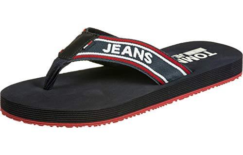 Hilfiger Denim Herren Stripe Tommy Jeans Beach Sandal Zehentrenner, Blau (Black Iris 431), 43 EU
